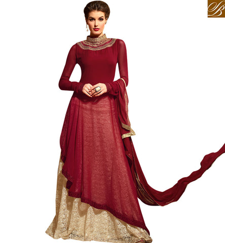STRYLISH BAZAAR MARVELLOUS MAROON COLORED FESTIVAL WEAR DESIGNER SUIT SLMSH3109