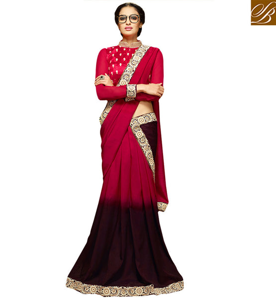 APPEALING DESIGNER PARTY WEAR SARI BLOUSE HAW310 BY RED & WINE