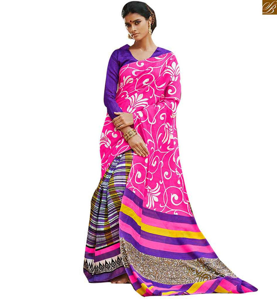 Image of Saree patterns with showy and latest designs of blouses collection pink bhagalpuri silk floral type printed casual wear saree with purple silk designer blouse