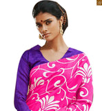 Image of Wonderful saree patterns with showy and latest designs of blouses collection online shop pink bhagalpuri silk floral type printed casual wear saree with purple silk designer blouse