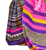 Image of Pink bhagalpuri silk floral type printed casual wear saree with purple silk designer blouse