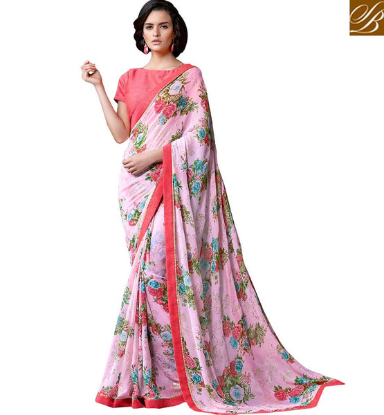 FROM THE HOUSE  OF STYLISH BAZAAR DAZZLING FLOWERY PRINTED SARI DESIGN RTMEN311