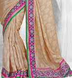EXQUISITE CREAM NET JACQUARD PARTY WEAR SARI RTCHA311