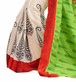 image of Off-white and green bhagalpuri-silk kerry printed casual saree with orange silk designer blouse