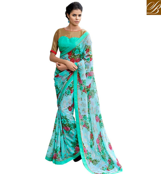 ENTHRALLING BLUE FLORAL PRINT SAREE BLOUSE RTMEN312 BY SKY BLUE