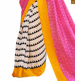 Image of Off-white and light-pink bhagalpuri silk printed saree with yellow silk designer blouse online