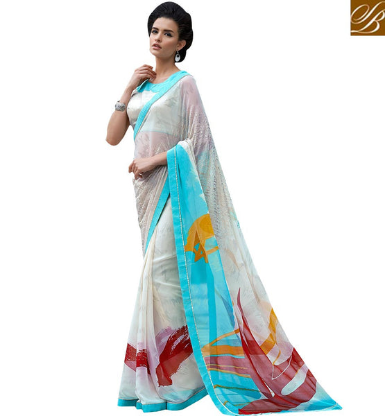 EXQUISITE DIGITAL PRINT SARI DESIGN RTMEN313 BY WHITE
