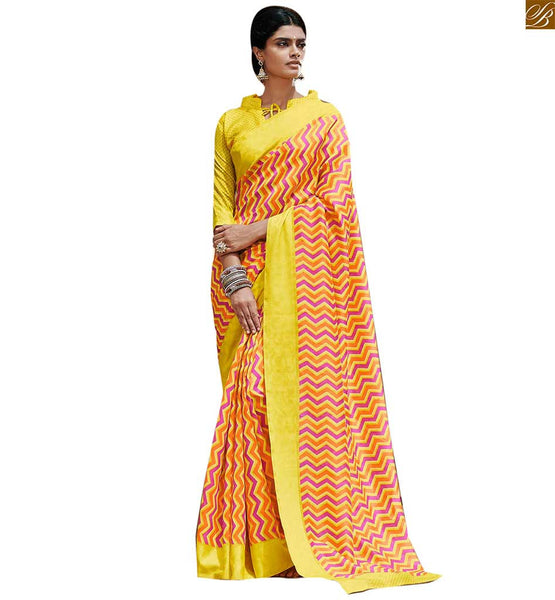 Image of Saree dreams with attractive indian blouse designs with coller yellow bhagalpuri silk zig zag printed indian casual saree with yellow silk designer blouse