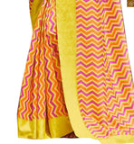 Image of Yellow bhagalpuri silk zig zag printed indian casual saree with yellow silk designer blouse