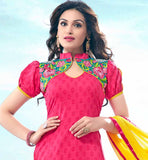 AWESOME PINK COTTON DRESS MATERIAL WITH CONTRAST YELLOW CHUNARI