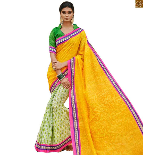 Image of Latest half sarees paired with stylish pattern of designer blouses yellow bhagalpuri silk half n half new collection saree with green silk designer blouse