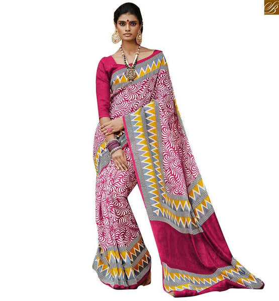 iMAGE OF Saree work designs with stunning and eye catchy model blouses pink bhagalpuri silk floral printed casual saree with magenta bhagalpuri silk designer blouse