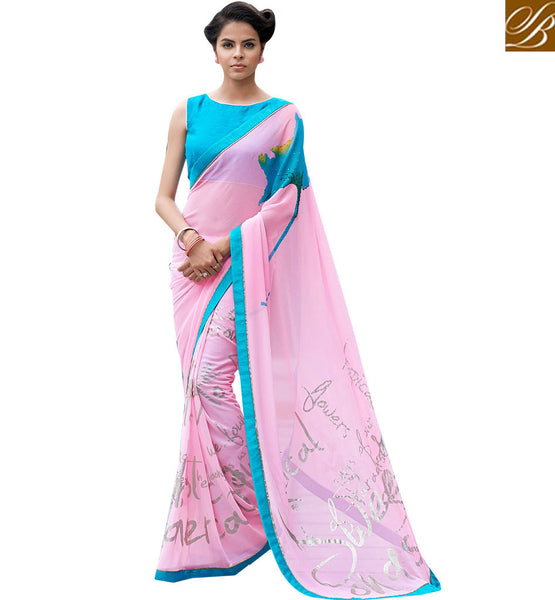 STYLISH BAZAAR MARVELOUS PEACH COLOR SAREE WITH BLUE BLOUSE RTMEN316