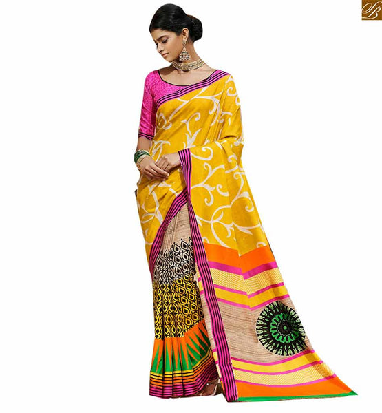 Image of Beautiful sari patterns in combination of neck blouse designs yellow bhagalpuri silk strip patterns indian casual wear saree with pink silk designer blouse