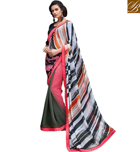 DELIGHTFUL DIGITAL PRINTED SARI RTMEN317 BY PINK, WHITE BLACK