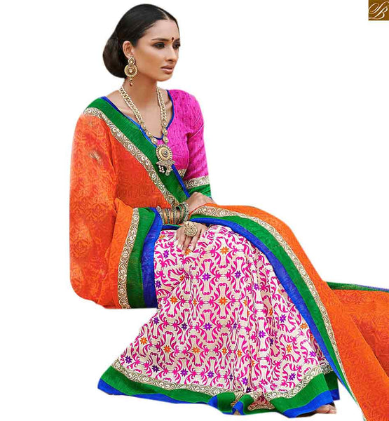 Image of Half sari of new style combined with pretty neck design of blouse off-white and orange bhagalpuri silk half n half saree with pink silk designer blouse online