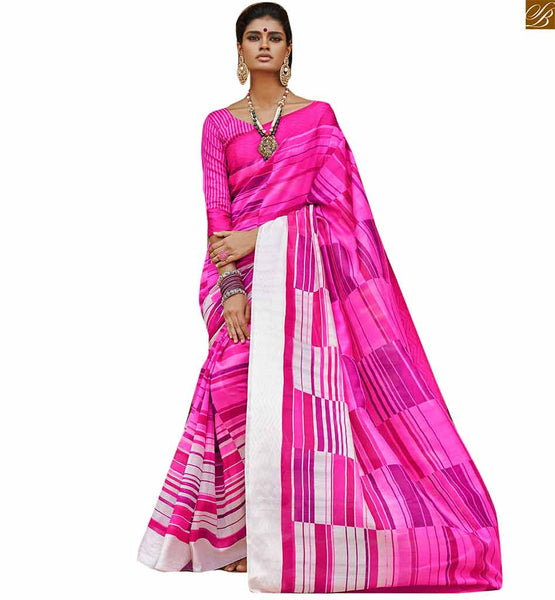 Image of Sari dress looks hot with net blouse design for stylish women pink bhagalpuri silk lovely printed indian saree with pink silk full sleeve designer blouse
