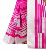 Image of Pink bhagalpuri silk lovely printed indian saree with pink silk full sleeve designer blouse
