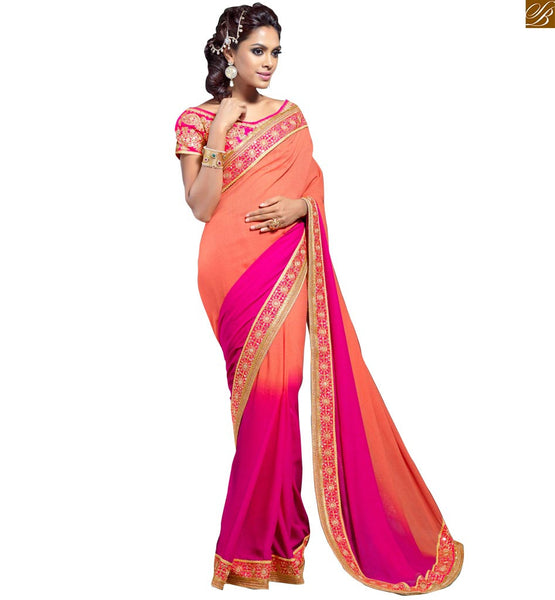 BROUGHT TO YOU BY STYLISH BAZAAR EXQUISITE PINK AND ORANGE GEORGETTE SARI WHICH COMES WITH PINK BLOUSE RTVL32