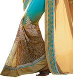 FROM THE HOUSE OF STYLISH BAZAAR DESIGNER SKY BLUE AND BEIGE SAREE WITH A LOVELY BLUE BLOUSE ANOB32