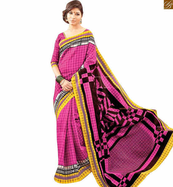 Image of Draping sari style with new blouse designs of three fourth sleeves pink bhagalpuri silk half and half design printed saree with pink silk designer blouse