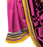 image of Pink bhagalpuri silk half and half design printed saree with pink silk designer blouse