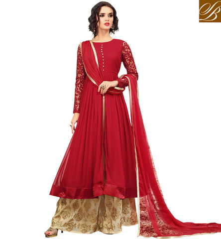 STYLISH BAZAAR BUY RED AND CREAM COLOUR PLAZZO STYLE DESIGNER SALWAR SUIT HAVING WELL COMBINATION MNMHN32001