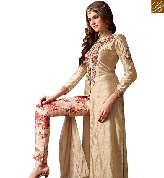 FROM STYLISH BAZAAR OUTSTANDING BEIGE COLORED LEHENGA STYLE DRESS WITH SLIT CUT AND FLORAL PRINT SLMSH3201