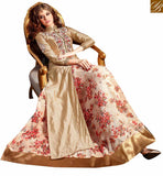 FROM THE HOUSE OF STYLISH BAZAAR OUTSTANDING BEIGE COLORED LEHENGA STYLE DRESS WITH SLIT CUT AND FLORAL PRINT SLMSH3201