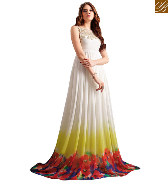 STYLISH BAZAAR DAZZLING WHITE GOWN FLOOR LENGTH DRESS WITH FLORAL PRINT SLMSH3204