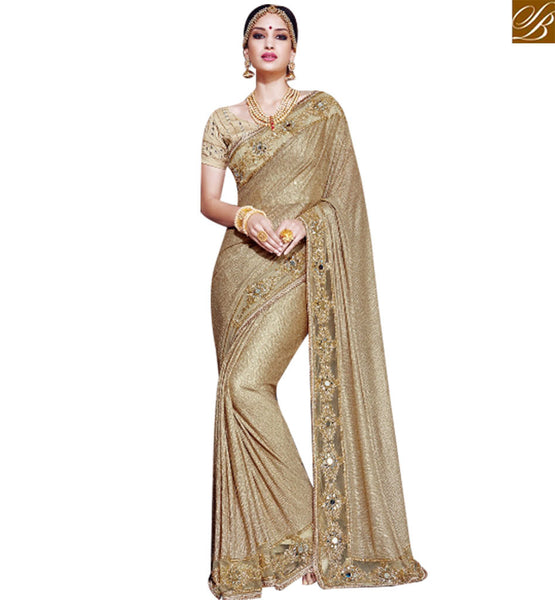 STYLISH BAZAAR BEAUTIFUL BEIGE SATIN DESIGNER SAREE WITH HEAVY LACE BORDER WORK SLMN3206