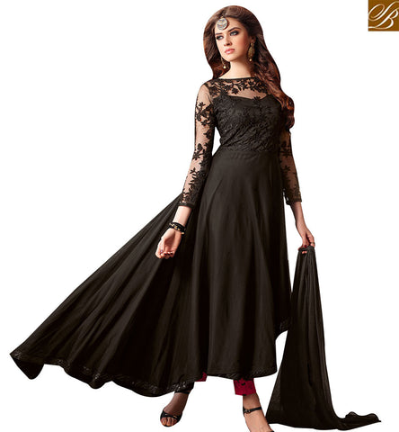 STYLISH BAZAAR ASTONISHING BLACK & RED COLORED LEHENGA CHOLI WITH ATTRACTIVE FLORAL PRINT SLMSH3206
