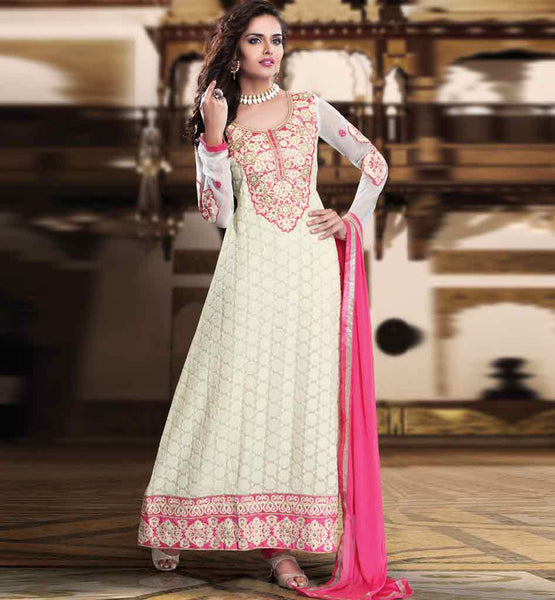 CREAM PARTY WEAR SALWAR SUIT RTURM3207