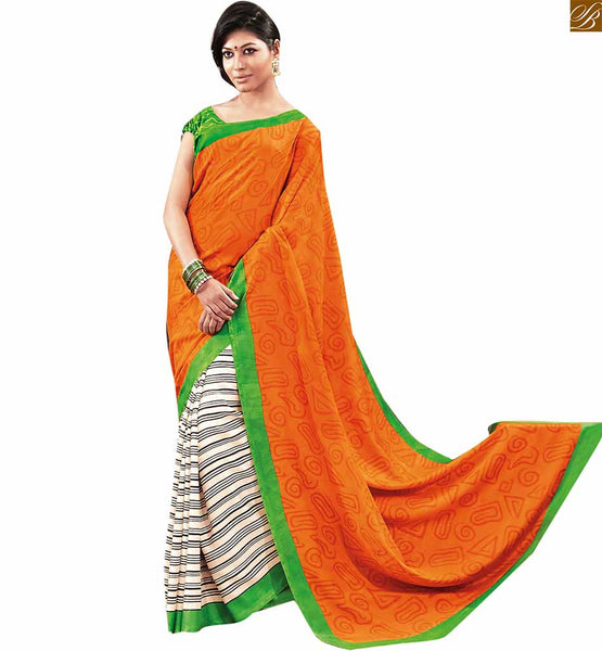 Image of Indian sari styles of new era paired with stylish blouse design orange bhagalpuri indian new collection printed saree with green designer blouse with border