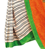 Image of Orange bhagalpuri indian new collection printed saree with green designer blouse with border