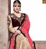 BROUGHT TO YOU BY STYLISH BAZAAR DELIGHTFUL BEIGE AND PINK HALF N HALF DESIGNER SAREE WITH HEAVY EMBROIDERED SLMN3215