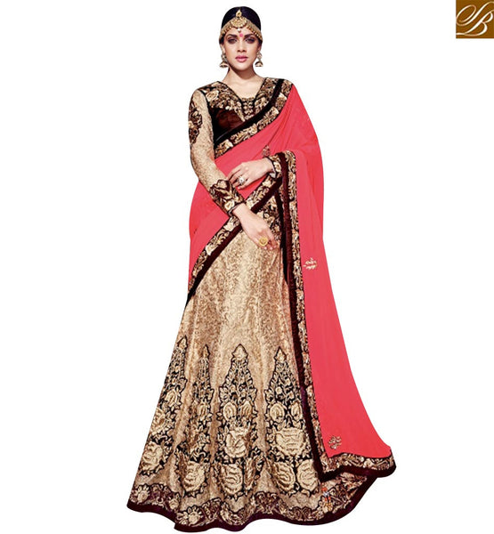 STYLISH BAZAAR DELIGHTFUL BEIGE AND PINK HALF N HALF DESIGNER SAREE WITH HEAVY EMBROIDERED SLMN3215