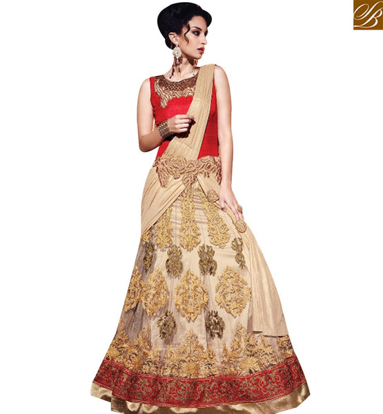 STYLISH BAZAAR WONDERFUL CREAM AND RED DESIGN HAVING EMBROIDERED WITH MODERN STYLE SLMN3217