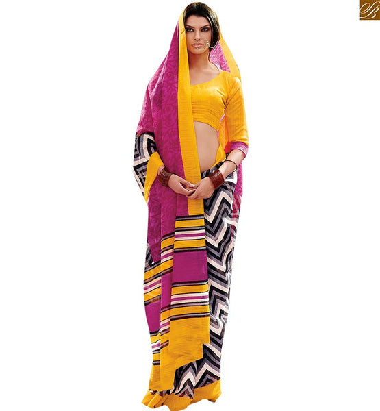 Image of Sari draping style accumulating neck designs of designer blouses pink-grey bhagalpuri stripe printed casual designer saree with yellow bhagalpuri blouse