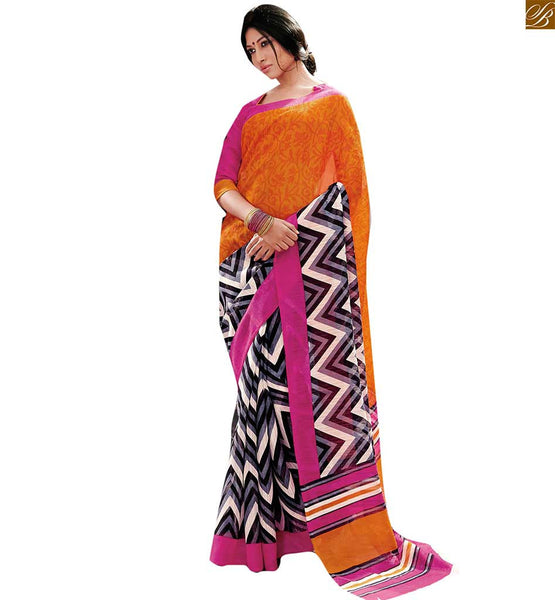 Image of Saree india with classy and tremendous indian blouse neck designs orange-grey bhagalpuri indian casual wear saree with pink bhagalpuri designer blouse online bazaar