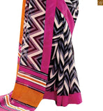 Image of Orange-grey bhagalpuri indian casual wear saree with pink bhagalpuri designer blouse online bazaar