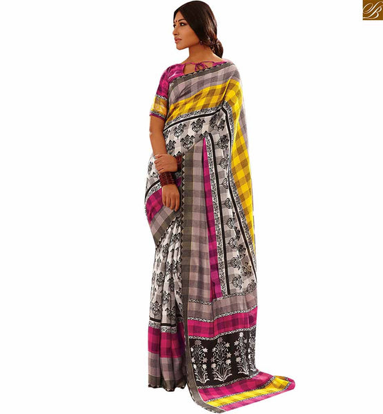 Image of Everstylish sarees with gorgeous looking blouse design patterns pink-yellow bhagalpuri floral printed saree with pink bhagalpuri designer blouse with border