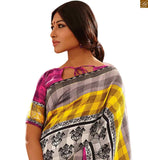 Image of Indian collection of everstylish sarees with gorgeous looking blouse design patterns for daily wear pink-yellow bhagalpuri floral printed saree with pink bhagalpuri designer blouse with border