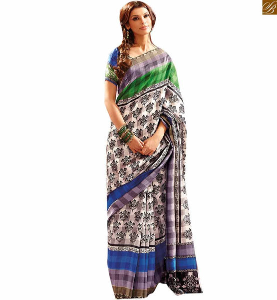 Image of South indian saree with good-looking blouse design catalogue style green and blue bhagalpuri indian casual printed saree with blue bhagalpuri designer blouse
