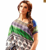 Image of Everstylish south indian saree with good-looking blouse design catalogue style for new trend green and blue bhagalpuri indian casual printed saree with blue bhagalpuri designer blouse