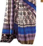 Image of Green and blue bhagalpuri indian casual printed saree with blue bhagalpuri designer blouse