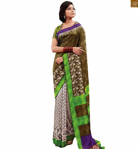 Image of Latest design of blouse matching with fabulous drapy saree wear henna-green and off-white bhagalpuri half n half printed saree with green designer blouse online