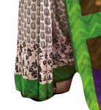 Image of Henna-green and off-white bhagalpuri half n half printed saree with green designer blouse online