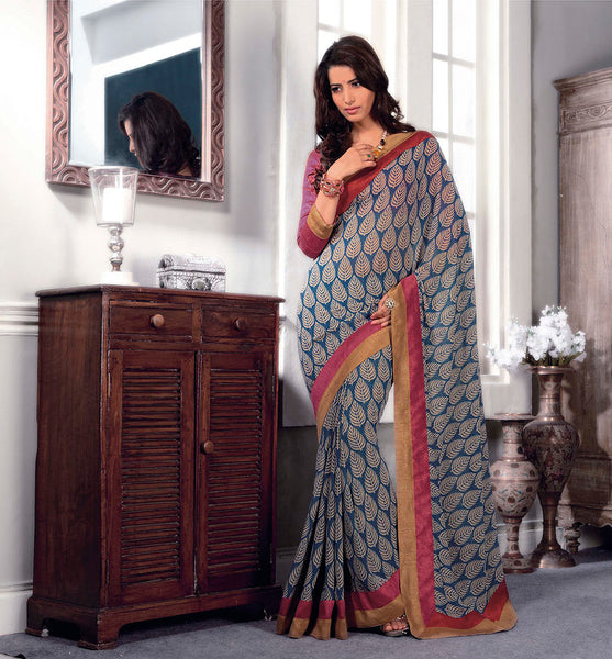 PRINTED GEORGETTE CASUAL WEAR SAREE VSBM32716 - stylishbazaar - buy online india, chic outlet shopping, dresses for women, formal dresses for women, online clothes shopping, online clothes shopping india