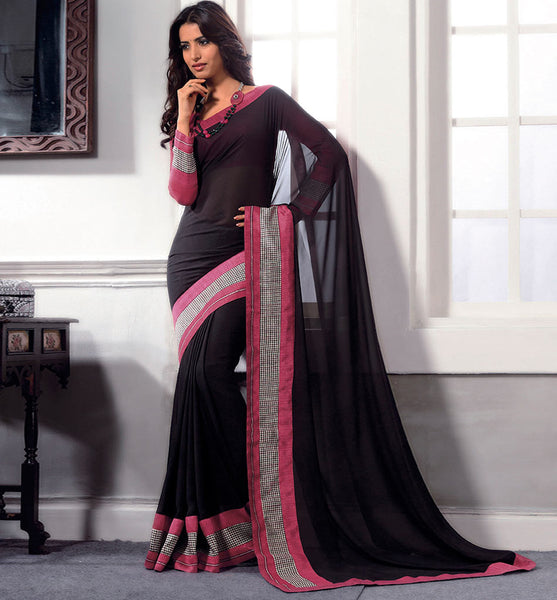 BLACK GEORGETTE CASUAL WEAR SAREE VSBM32719 - stylishbazaar - fashion websites, best fashion websites, Indian Fashion, indian clothing for women, shopping online, online shopping in india